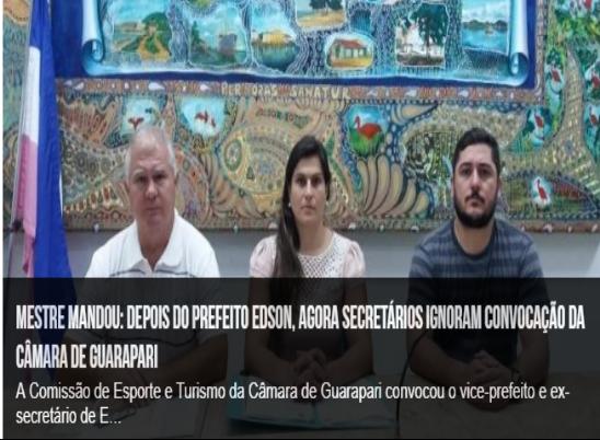 Mestre mandou: depois do prefeito Edson, agora secretários ignoram convocação da Câmara de Guarapari